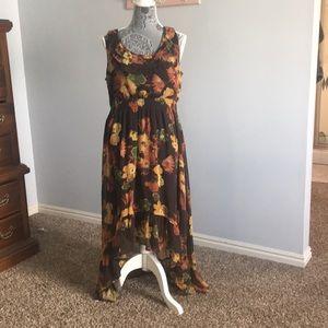 Brown floral dress.